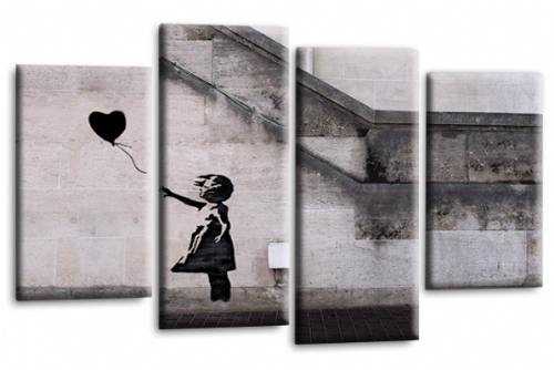 Banksy Art Balloon Girl Love Peace Black Grey Canvas Wall Art Picture